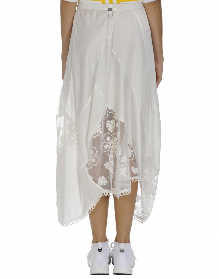 CONCEPT: White matt and shine satin and organza skirt