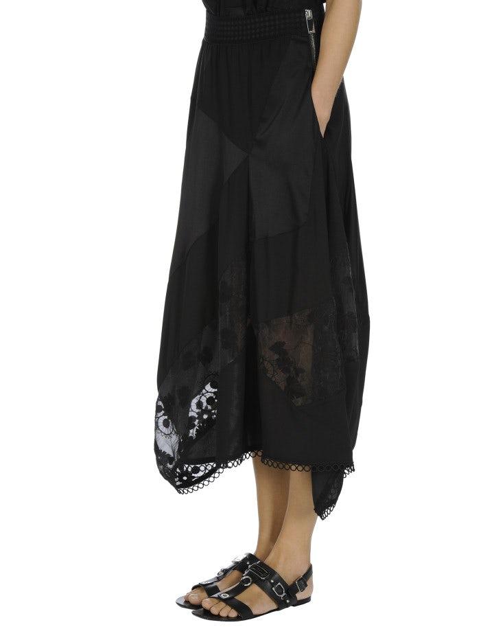 CONCEPT: Black matt and shine satin and organza skirt