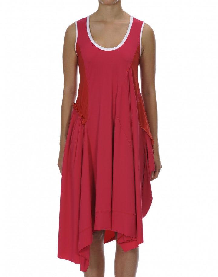 CHARM: Abito asimmetrico con pannelli in jersey fucsia e rosso
