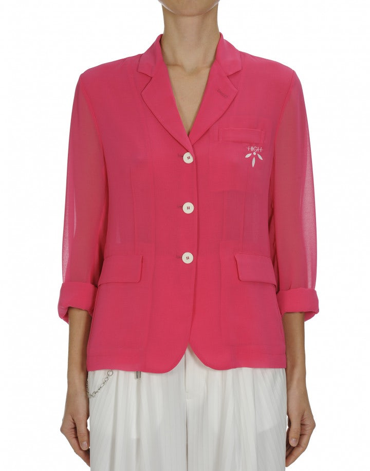 PRELUDE: Hot pink tech georgette blazer