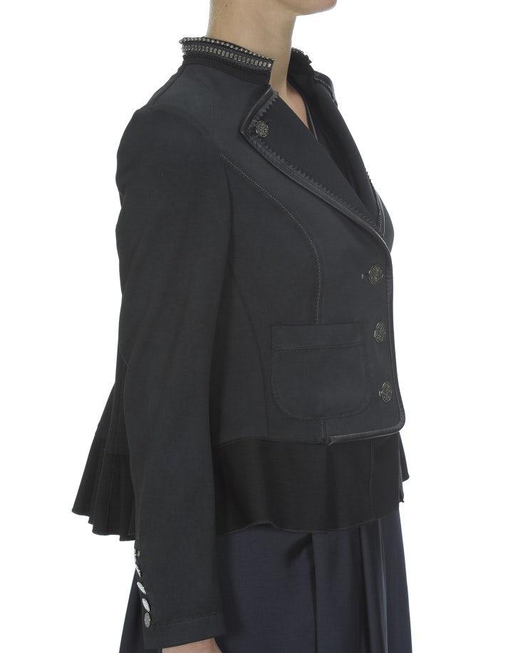 FLOTILLA: Giacca sartoriale con balze, grigio scuro