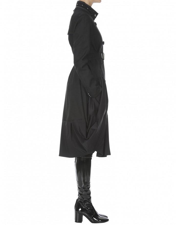 MAZURKA: Cappotto in cavalry twill nero con gonna arricciata