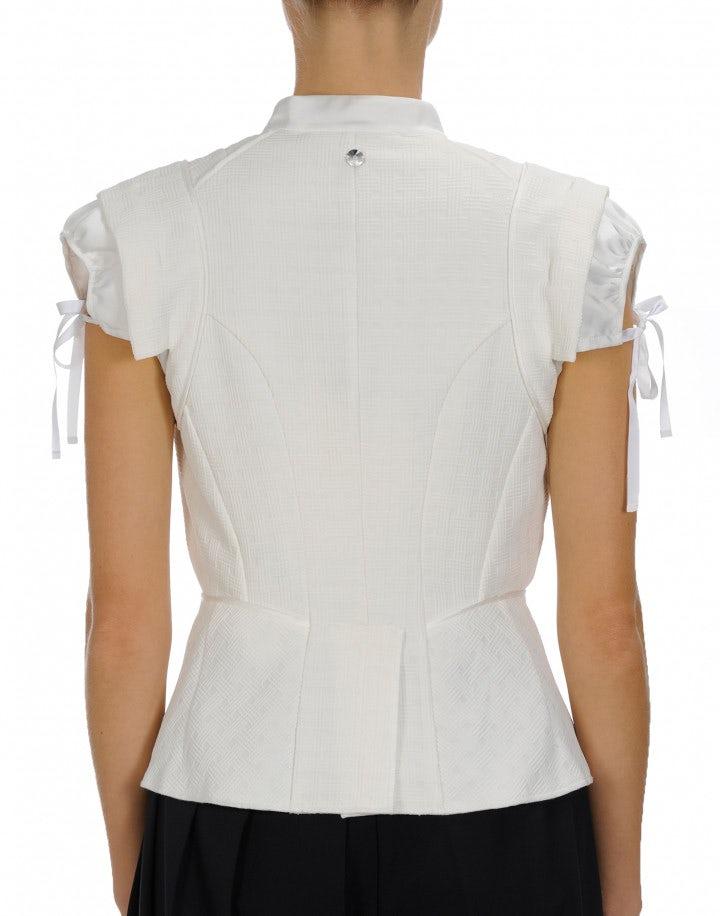 TRANSFORM: White cap sleeve gilet