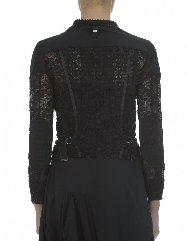 OUTWIT: Giacca biker in pizzo tech, nera