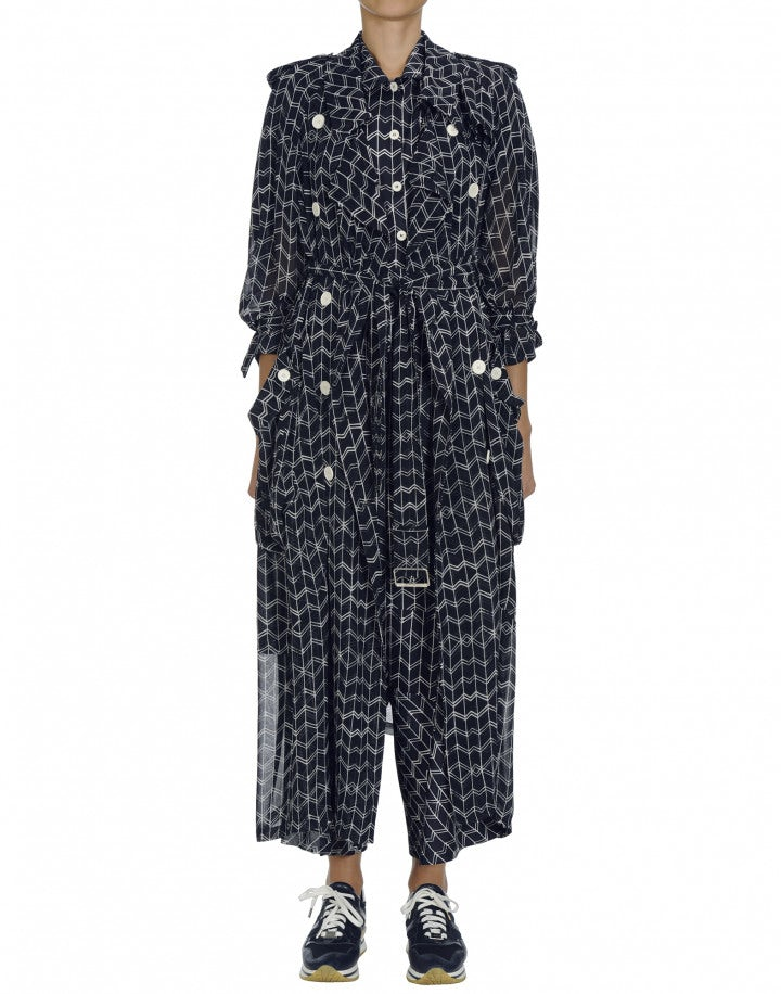 DIALECT: Navy and white organza trench coat