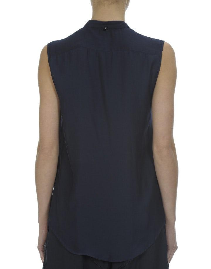 EFFETE: Blusa in seta tecnica, blu navy scuro