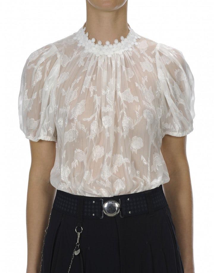 MURMUR: Camicia a maniche corte con colletto arricciato