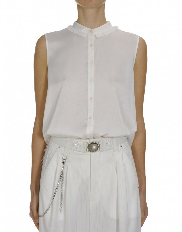 EQUATE: Sleeveless satin shirt with pleated back