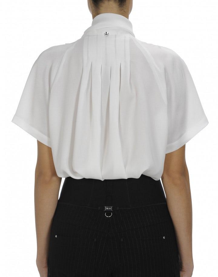 VANITY: Ivory short sleeve tie neck shirt