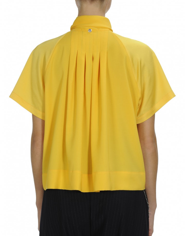 VANITY: Yellow short sleeve tie neck shirt