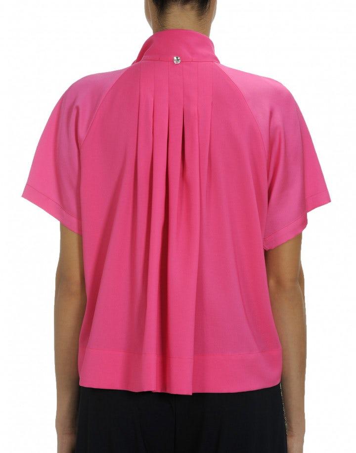 VANITY: Hot pink short sleeve tie neck shirt