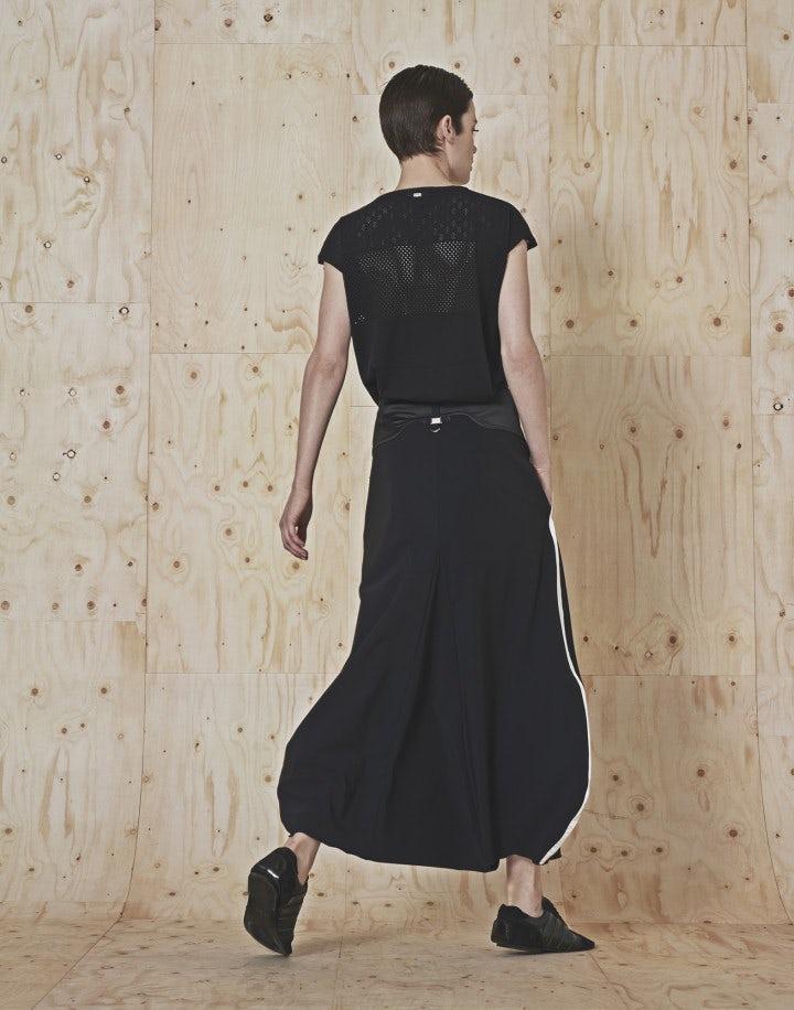 CLIPPER: Top senza maniche nero in maglia tech a rete e pointelle