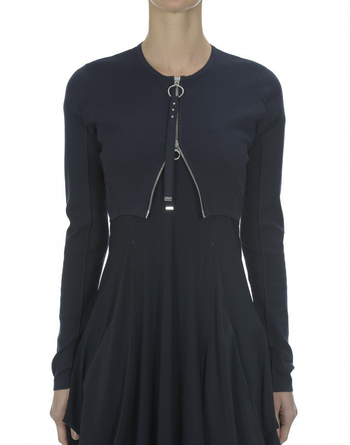 VAVOOM: Bolero in maglia tecnica, blu navy