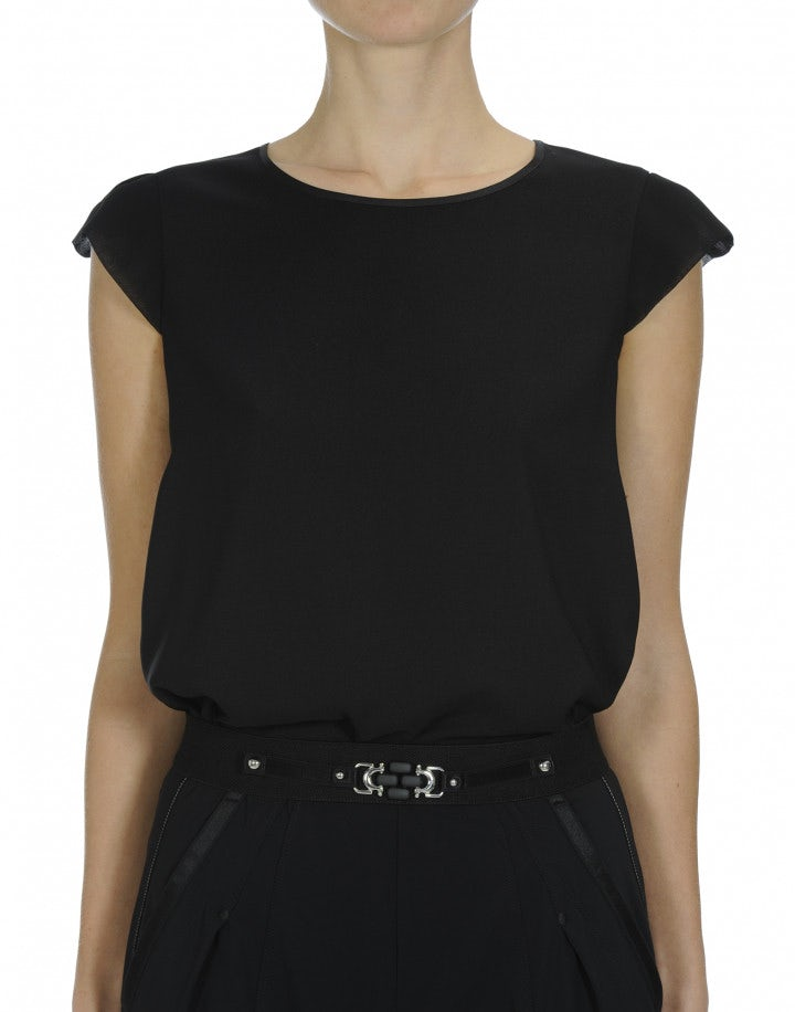 SWIFT: Black pink A-line cap sleeve top