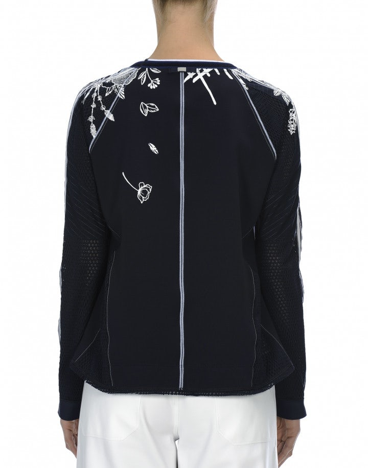 OPTIMA: Top raglan blu navy a motivi floreali bianchi