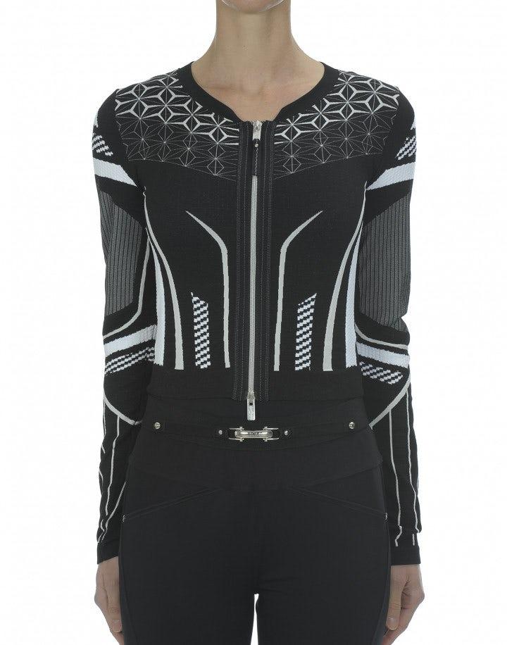 NEXUS: Cardigan in maglia tecnica con motivo optical