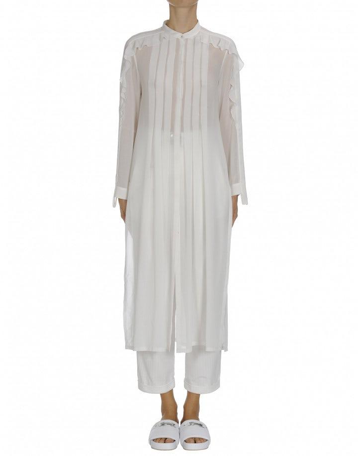 REGARD: Ivory tech georgette shirt tunic