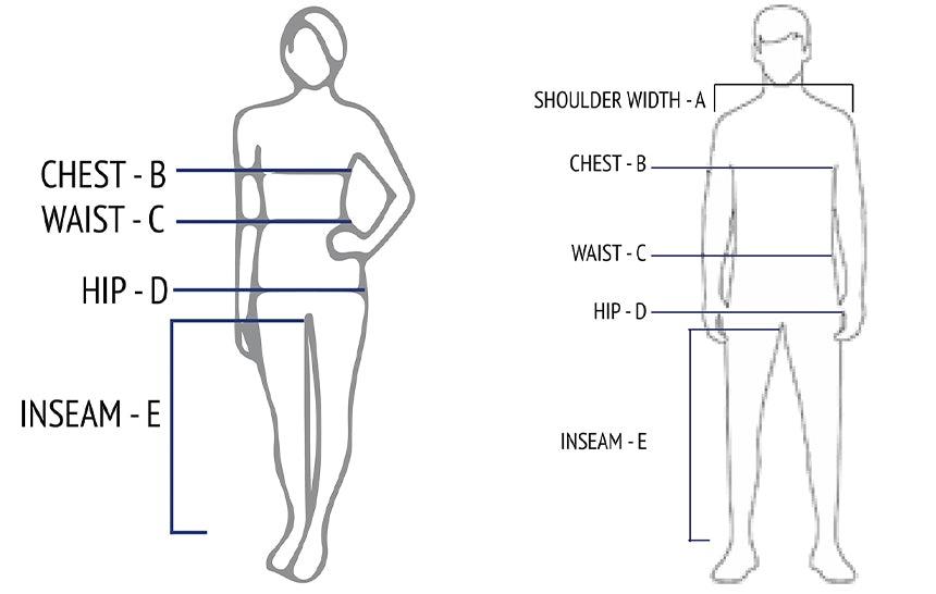 Measuring guide for dresses